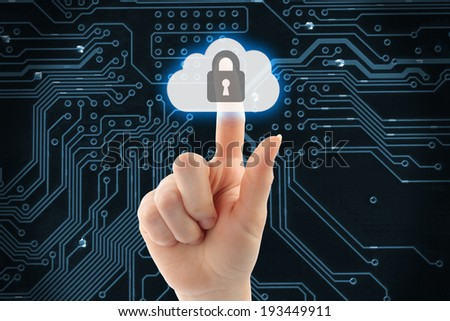 Hand pushing virtual cloud security button on digital background   - stock photo