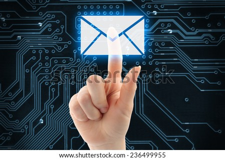 Hand pushing virtual mail button on digital background   - stock photo