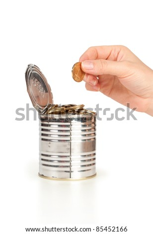hand put coin in tin isolated on white