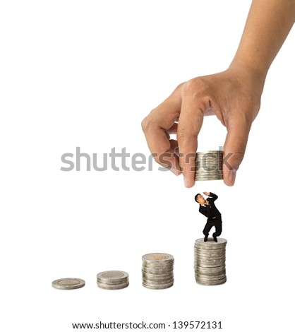 Hand put coins to plump businessman on isolate white background