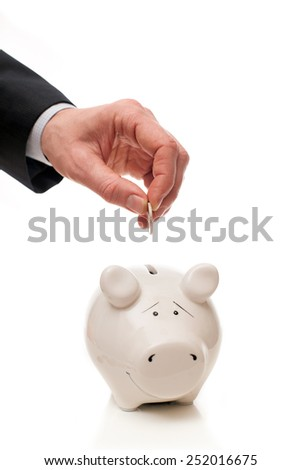 hand putting coin in piggy Bank - stock photo