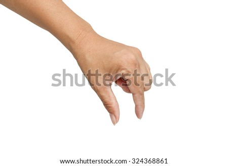 Hand putting isolated,with clipping path. - stock photo