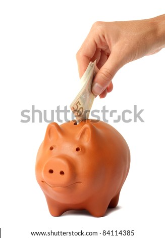 Hand putting money into the piggy bank