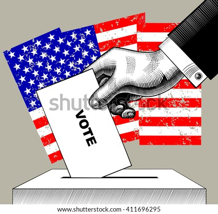 Hand putting voting paper in the ballot box on USA flag background. Concept of US Presidential election. Vintage engraving stylized drawing.  - stock photo
