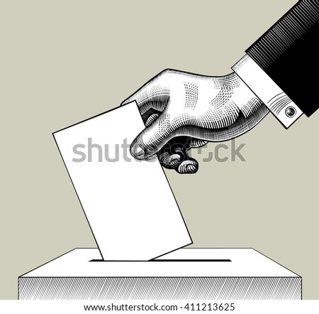 Hand putting voting paper in the ballot box. Vintage engraving stylized drawing - stock photo