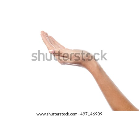 Hand raise to receive something on white background
