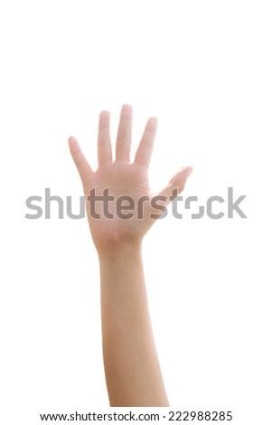 Hand raise up isolated on white background - stock photo