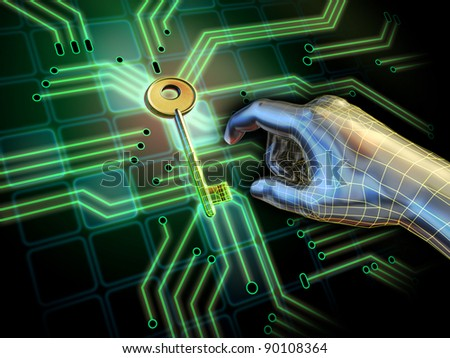 Hand reaching for a key located at the center of a printed circuit board. Digital illustration. - stock photo