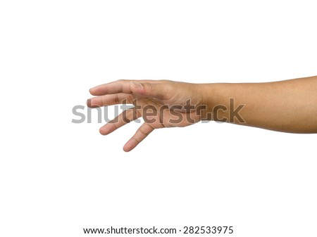 hand reaching for something isolated on a white background  - stock photo