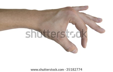 hand reaching for something on white background