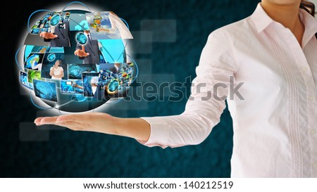 hand reaching images streaming - stock photo