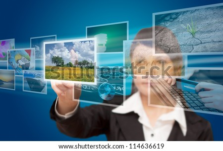 hand reaching images streaming from the deep - stock photo