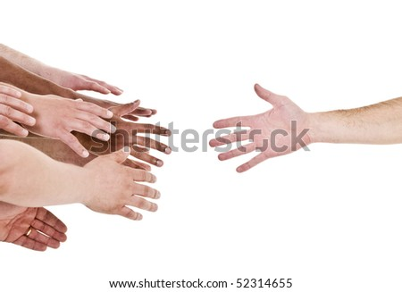 Hand reaching out for help isolated on white background
