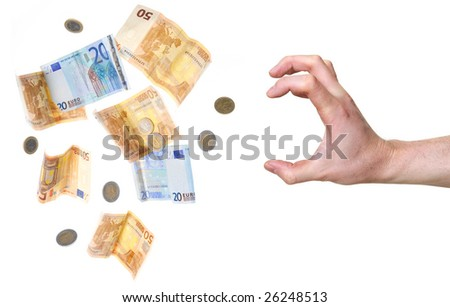 hand reaching out for money isolated on white background - stock photo