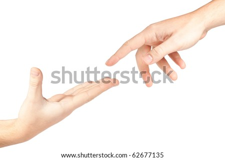 Hand reaching out to help someone isolated on white background - stock photo