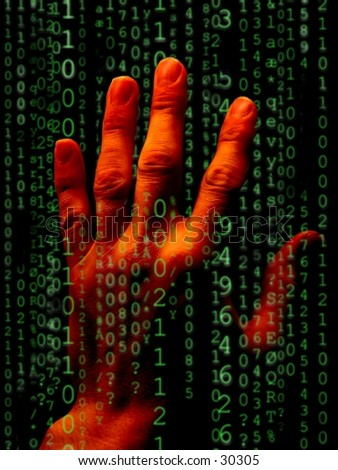 Hand reaching through rows of numbers and letters. - stock photo