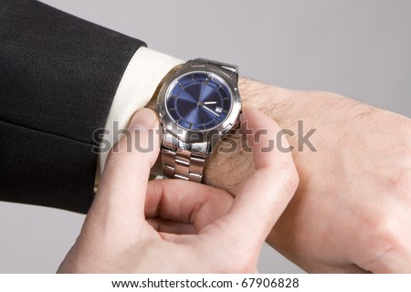 Hand ready to stop chronograph in a modern watch.