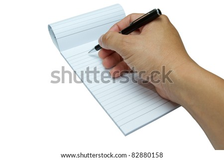 Hand ready to write on note pad