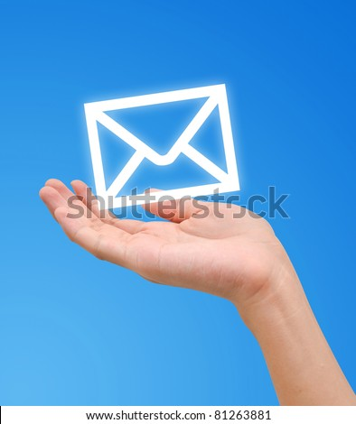 Hand receive E-mail letter icon - stock photo