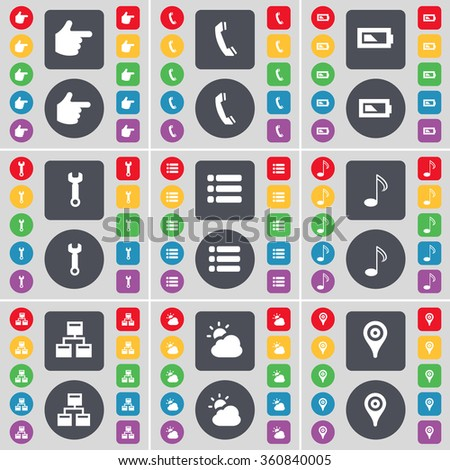 Hand, Receiver, Battery, Wrench, List, Note, Network, Cloud, Checkpoint icon symbol. A large set of flat, colored buttons for your design. illustration - stock photo
