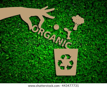 Hand recycle organic waste bins vector illustration, Waste types segregation recycling concept on paper craft die-cut.Green and Sustainable, vector grass blurred  - stock photo