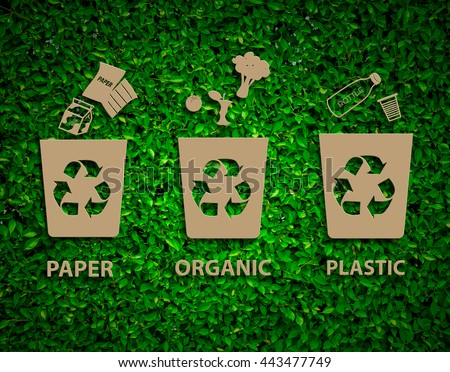 Hand recycle waste bins vector illustration, Waste types segregation recycling concept,paper,organic,plastic on paper craft die-cut.Green and Sustainable, vector grass blurred  - stock photo
