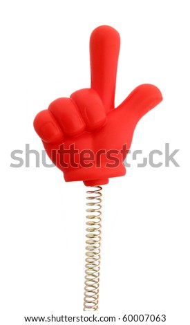 Hand red rubber on spring with finger showing direction up - stock photo
