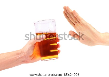 hand reject a glass of beer - stock photo