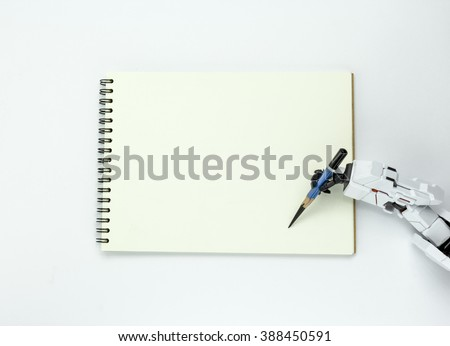 Hand robot hold a pencil writing on background - stock photo