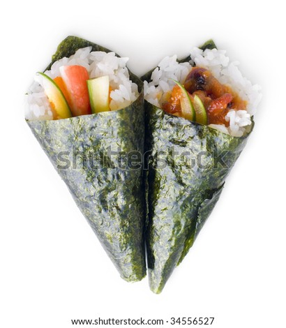 Hand rolled temaki sushi traditional japanese cuisine isolated on white.