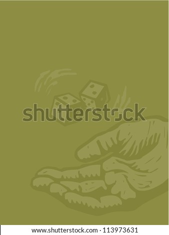 Hand rolling a pair of dice on green background - stock photo