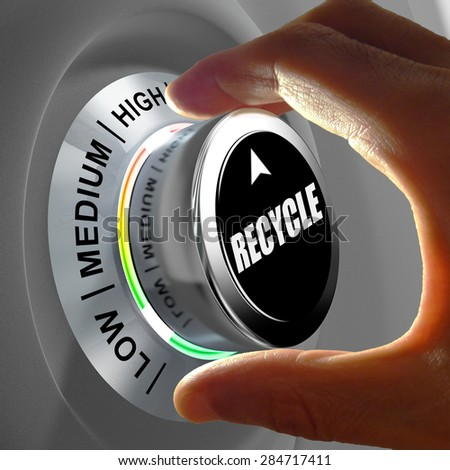 Hand rotating a button and selecting the level of recycling. This concept illustration is a metaphor for choosing the level of recycling. Three levels are available: low, medium and high. - stock photo