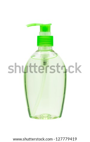 Hand sanitizer bottle with a pump dispenser isolated on white background - stock photo