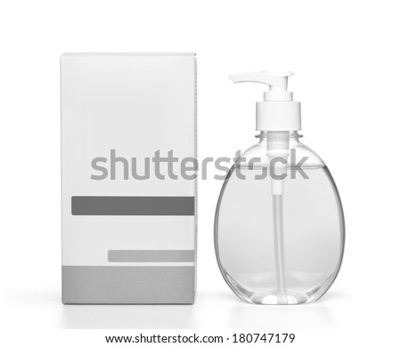 hand sanitizer soap dispenser on white background - stock photo
