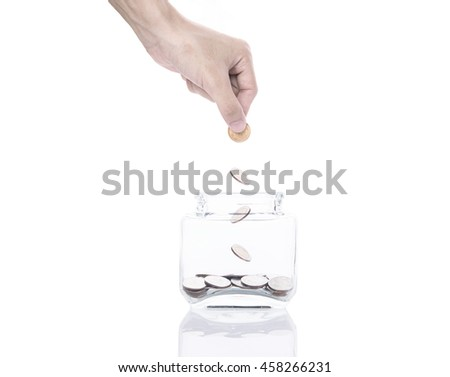 Hand saving money concept,business hand putting money coin stack on piggy bank. isolated on white background.