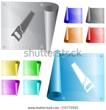 Hand saw. Metal surface. Raster illustration.  - stock photo