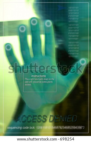 Hand scan pad to access entry - stock photo