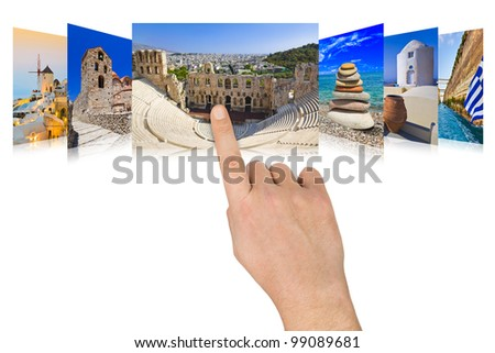Hand scrolling Greece travel images - nature and tourism concept - stock photo