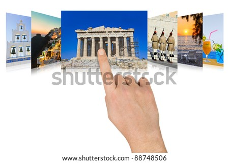 Hand scrolling Greece travel images - nature and tourism concept (my photos) - stock photo