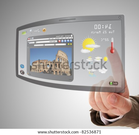 hand searching a information on touchscreen tablet - stock photo