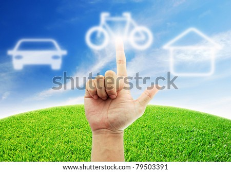 Hand select bike and motorcycle for the future - stock photo