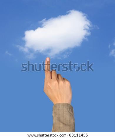 Hand select the cloud computing - stock photo