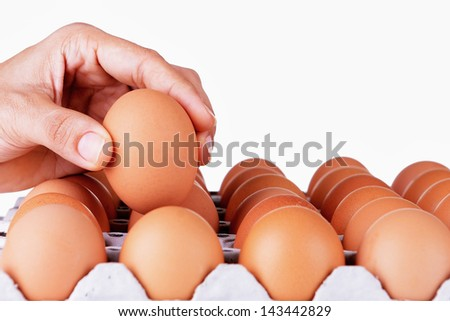 Hand selected Egg in egg box - stock photo