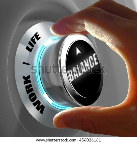 Hand selecting a balance between work and life. Concept of balance between spending time at work or privately in family. 3D Rendering - stock photo