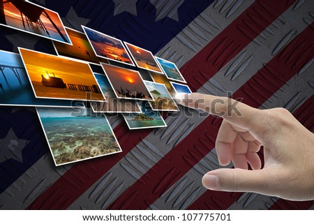 Hand selecting business icon on united state of america nation flag abstract background.