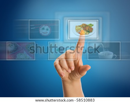 hand selecting images streaming from the front - stock photo