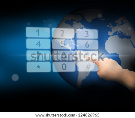 Hand selecting nine from number pad hologram on globe background