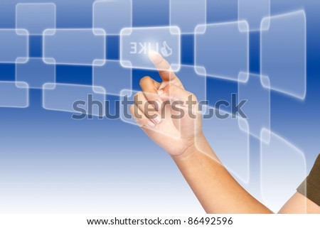 Hand, selecting of like button among various buttons - stock photo