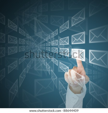 hand sending mail by push touch screen button