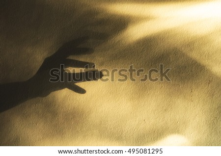 hand shadow puppet on vintage wall background